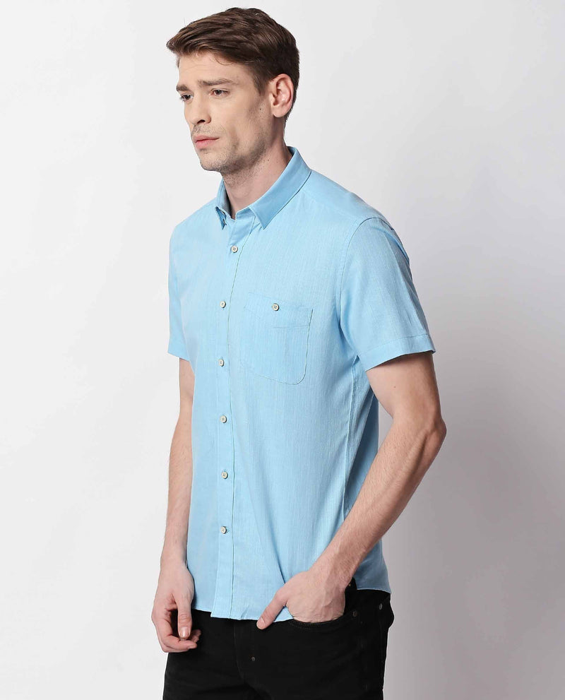 DRIVEN-4- SOLID SHIRT - BLUE SHIRT RARE RABBIT