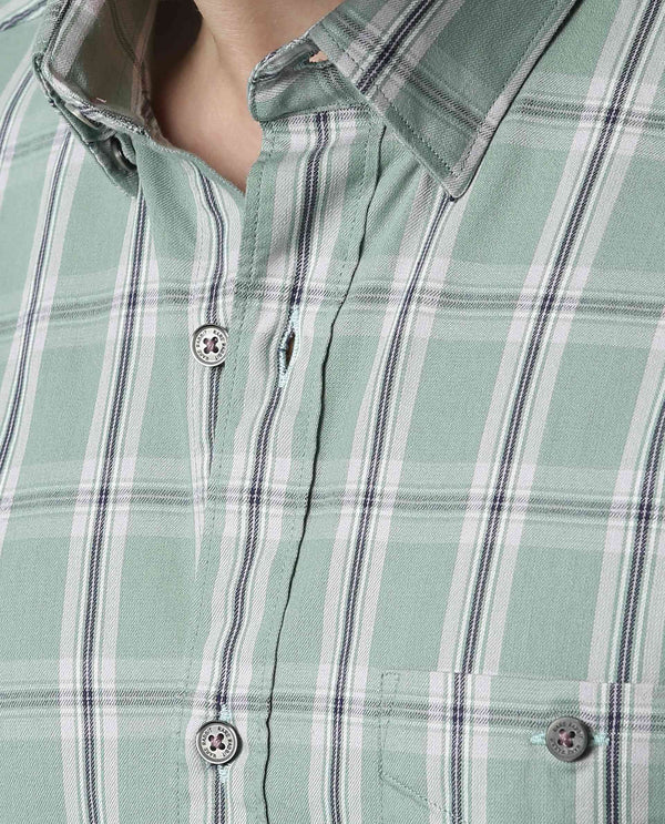 DIRECT-TWILL CHECK SHIRT-GREEN SHIRT RARE RABBIT