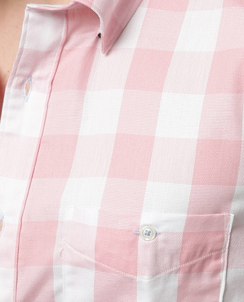 GINGHAM-DOBBY CHECK SHIRT-PINK SHIRT RARE RABBIT