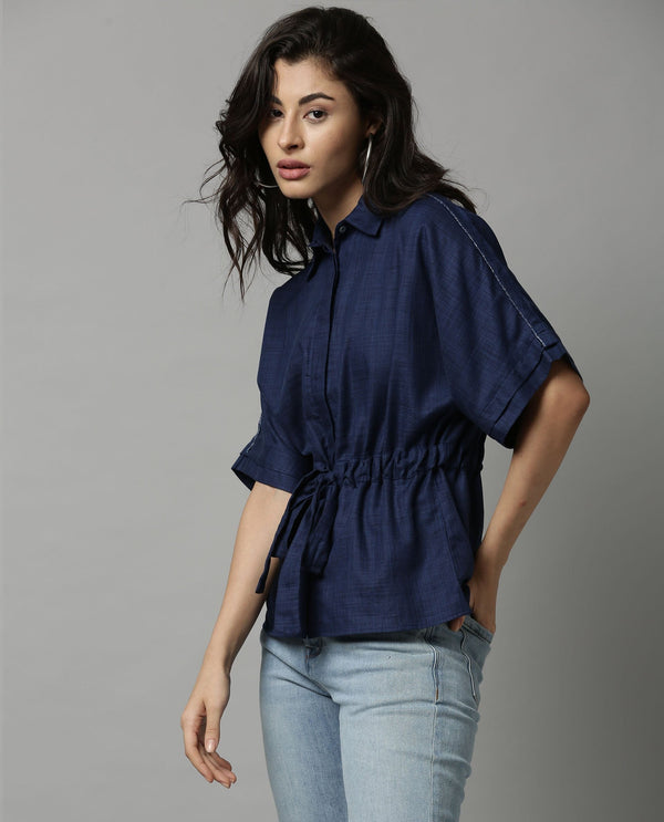 GRID-SOLID TIEUP SHIRT-BLUE TOP RAREISM