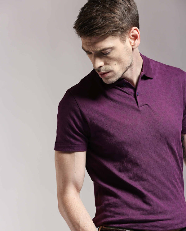 HOPPER-PIMA POLO T SHIRT-PURPLE