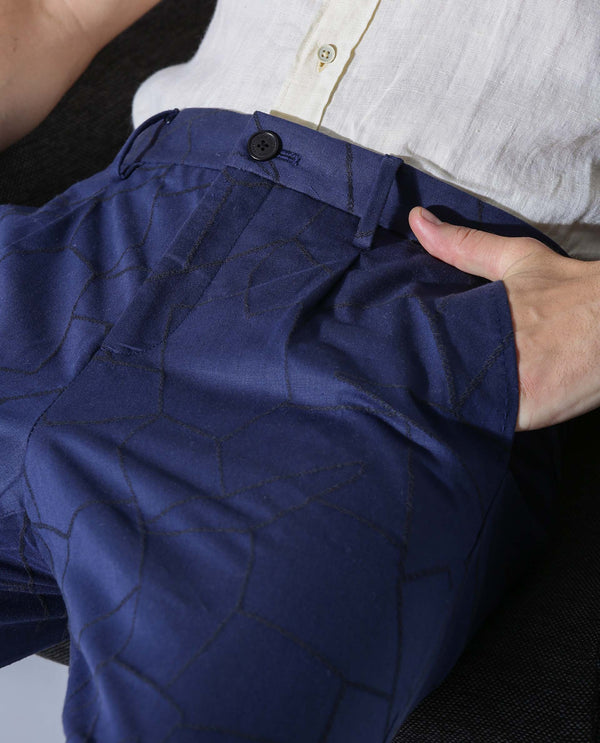 WEB SUITE- PATTERNED TROUSER - BLUE TROUSERS RARE RABBIT