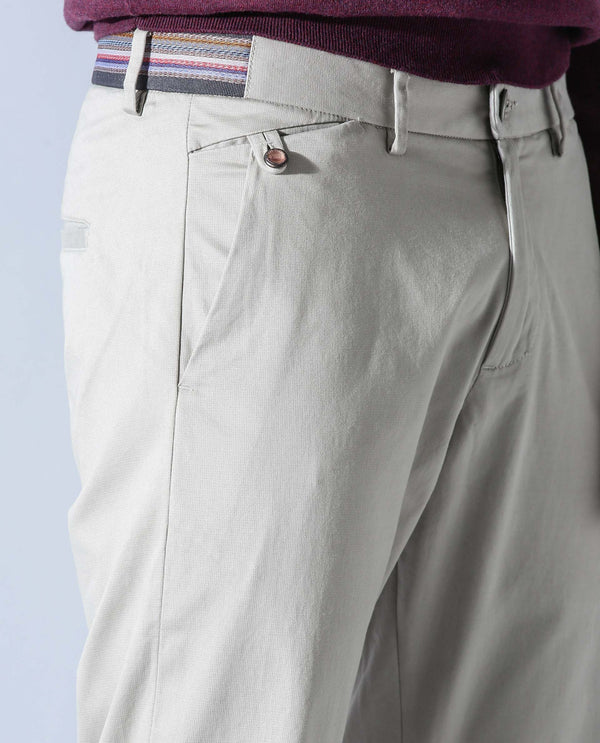 DARO-FL- SOLID TROUSERS - LIGHT GREY TROUSERS RARE RABBIT