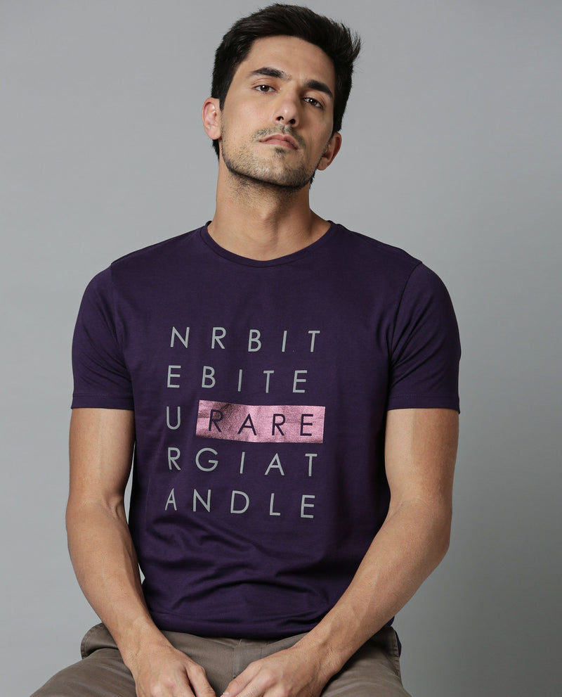 SCRIPT-STRETCH T SHIRT-PURPLE T-SHIRT RARE RABBIT