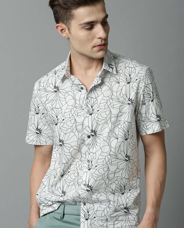 ALL- CREATIVE PRINT SHIRT- OFF WHITE SHIRT RARE RABBIT