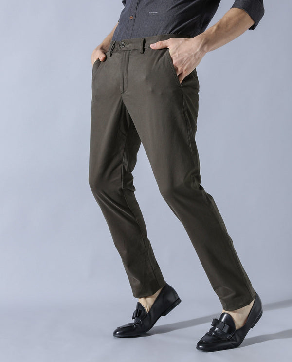 DARO-Regular Fit Trouser-OLIVE TROUSERS RARE RABBIT