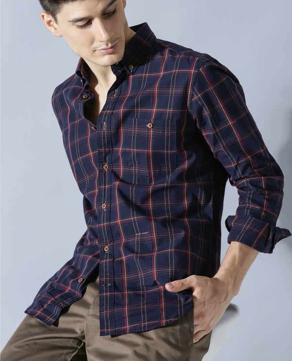 KETT- CLASSIC CHECK SHIRT -NAVY SHIRT RARE RABBIT