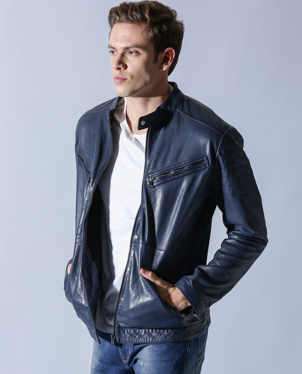 CLAYO - LEATHER JACKET - NAVY LEATHER JACKET RARE RABBIT
