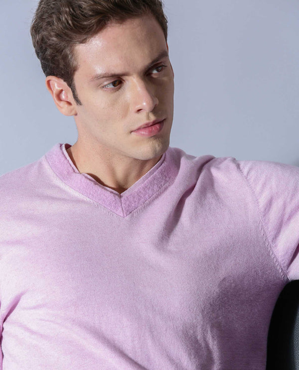 PIPER - SWEATER-V-NECK-DOUBLE COLLAR - LIGHT PINK SWEATER RARE RABBIT