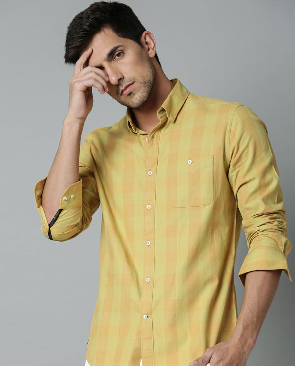 CONNECT-TEXTURED CHECK SHIRT-YELLOW SHIRT RARE RABBIT