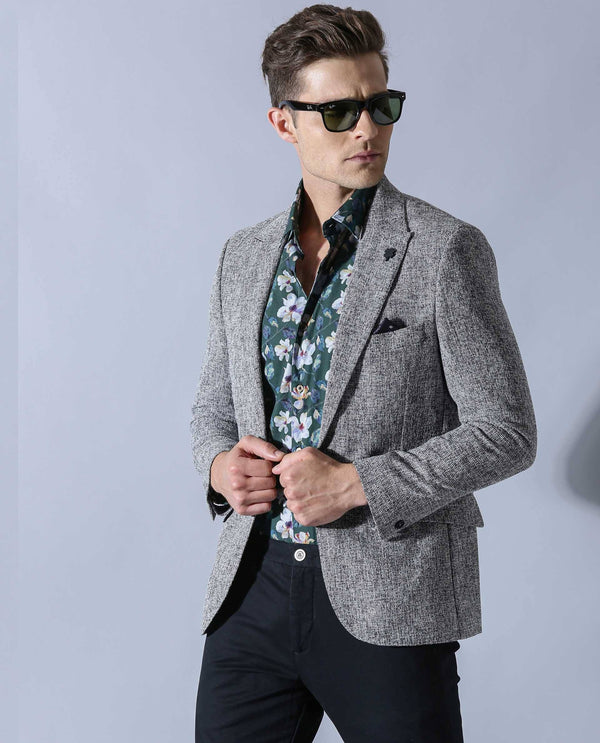 REWIND-MEN'S BLAZER-DARK GREY BLAZER RARE RABBIT