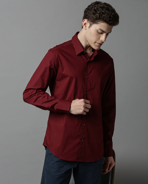 Neutron-6-Stretch Lycra Shirt-Maroon SHIRT RARE RABBIT