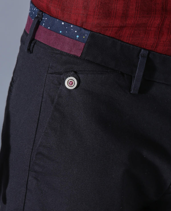 DARO-5-SOLID CHINO-BLACK TROUSERS RARE RABBIT