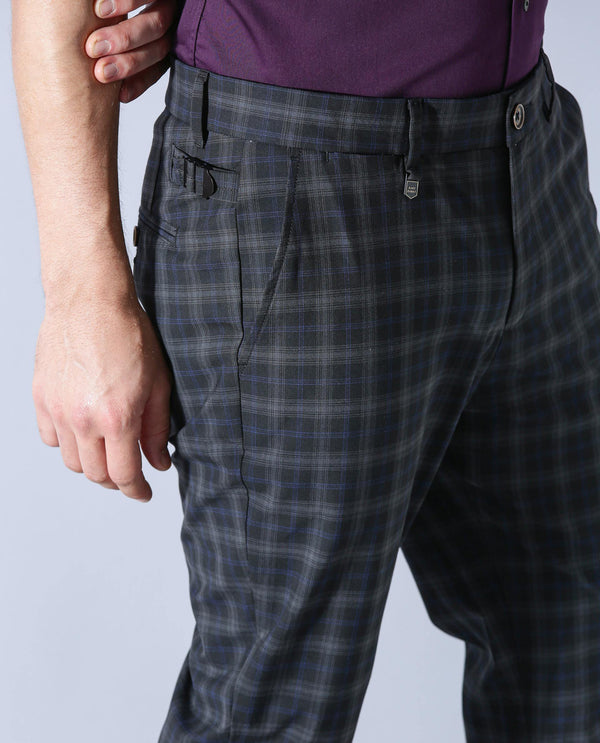 Grayson-Checked Trouser-Black TROUSERS RARE RABBIT