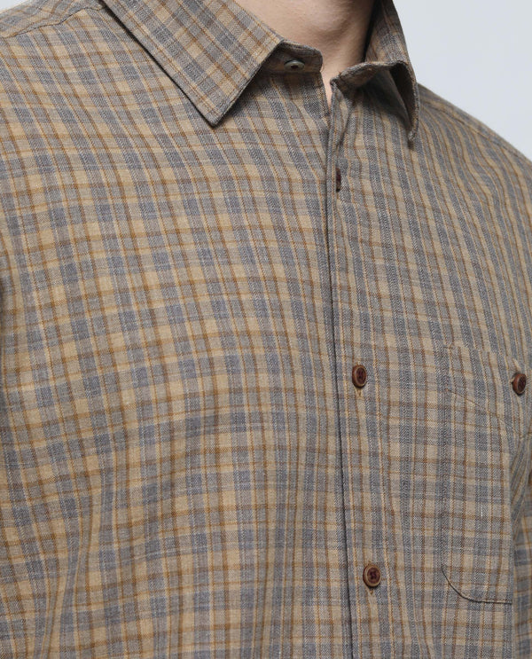IMPACT-Plaid Shirt-BEIGE
