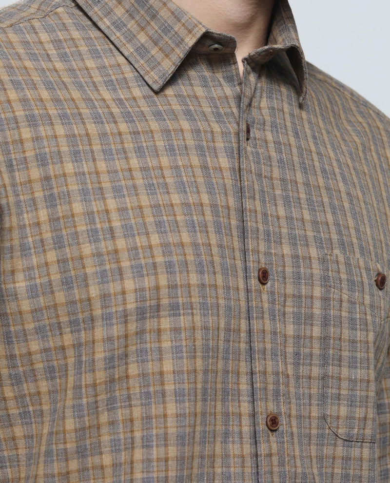 IMPACT-Plaid Shirt-BEIGE SHIRT RARE RABBIT