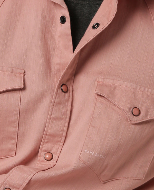 ISTA-STRETCH DENIM SHIRT-PINK SHIRT RARE RABBIT