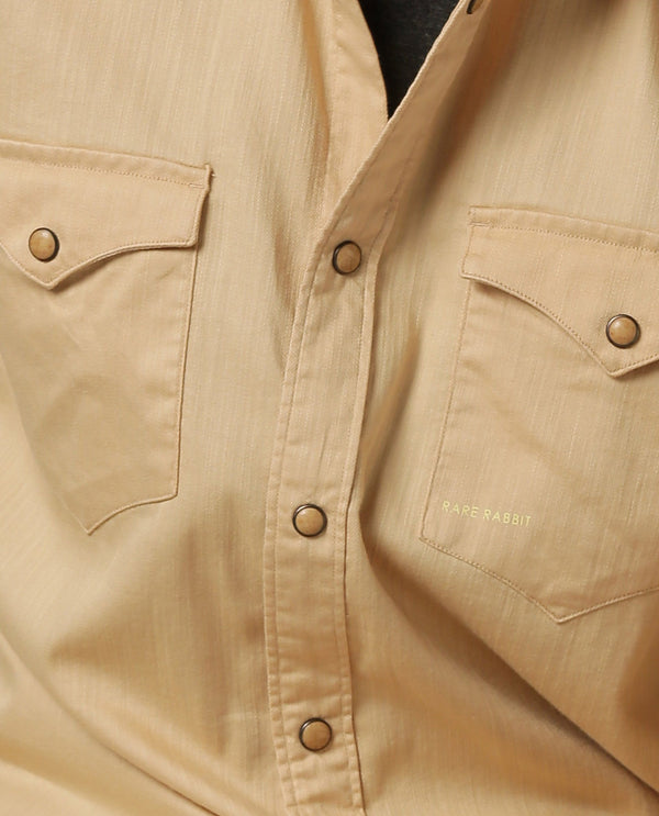 ISTA-STRETCH DENIM SHIRT-BEIGE SHIRT RARE RABBIT