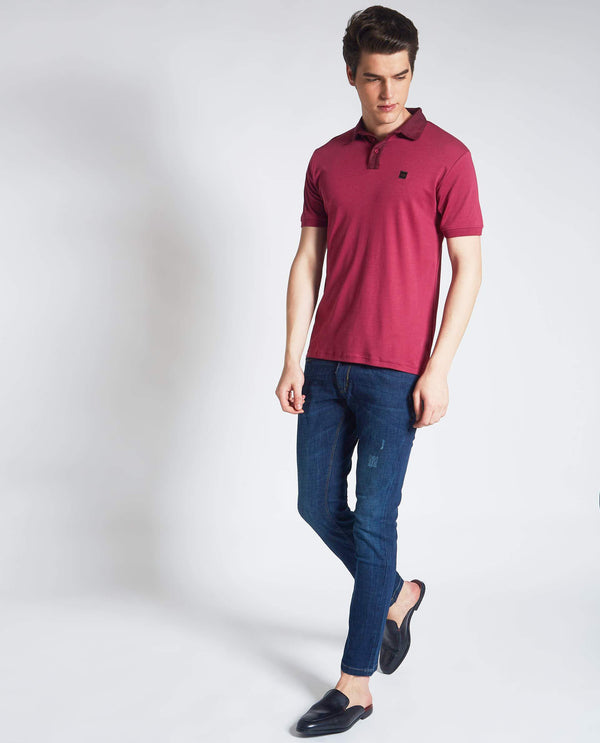 JORA-PIMA POLO T-SHIRT- DARK PINK POLO RARE RABBIT