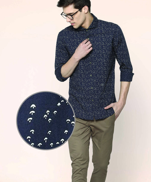 KITES-Dot Print Shirt-Blue