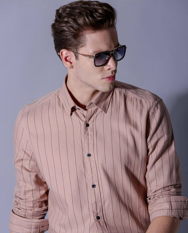 LINEAR-STRIPE SHIRT-PINK SHIRT RARE RABBIT
