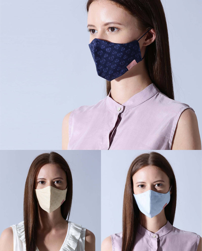 WOMEN'S MASK - PACK OF 3 - NAVY,SKY BLUE,YELLOW MASK RAREISM