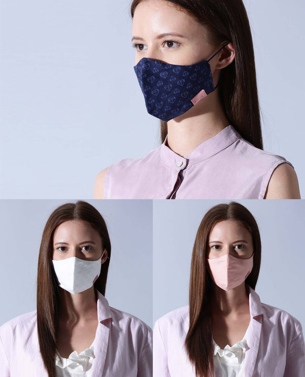WOMEN'S MASK - PACK OF 3 - NAVY, WHITE, PEACH MASK RAREISM
