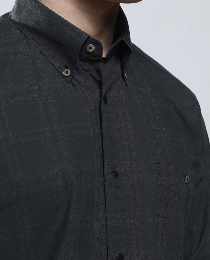 MURK-2-Plaid Shirt-BLACK