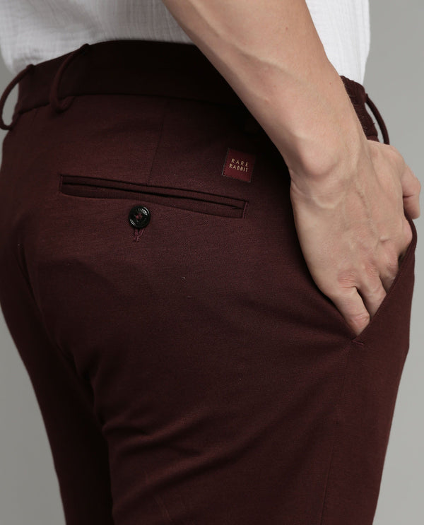TURNS-SOLID STRETCH TROUSER-MAROON TROUSERS RARE RABBIT