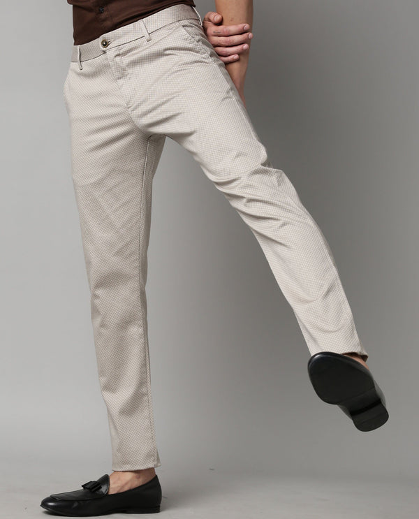 ORLAN-PRINTED STRETCH TROUSER-BEIGE TROUSERS RARE RABBIT