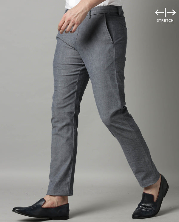 ORLAN-SOILD HERRINGBONE TROUSER-BLUE TROUSERS RARE RABBIT