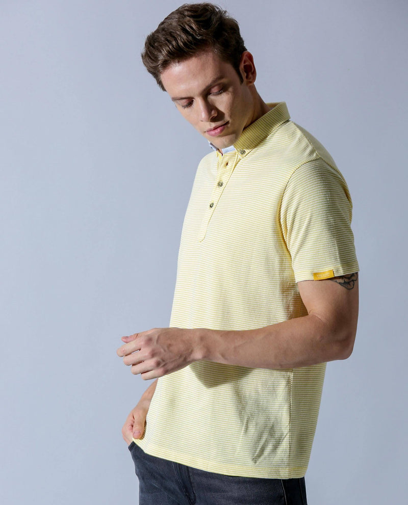 PAABLO- SUPIMA POLO NECK T-SHIRT- YELLOW POLO RARE RABBIT