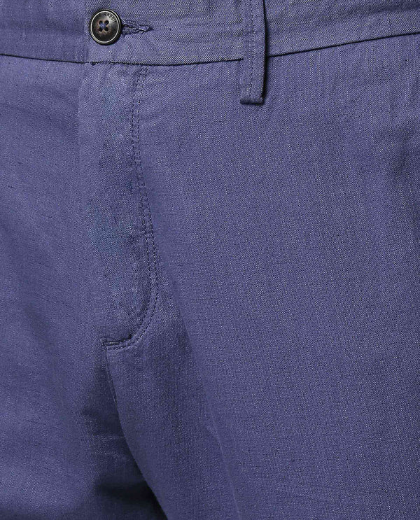 PAJAM-2- LINEN BLEND TROUSERS -BLUE TROUSERS RARE RABBIT
