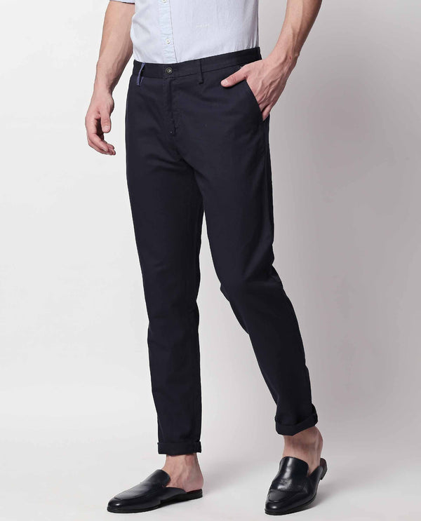 PAJAM-2 LINEN BLEND TROUSER-NAVY TROUSERS RARE RABBIT
