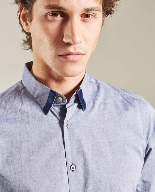 PERFECT-Collar insert shirt -BLUE