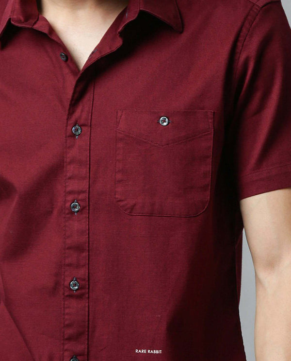 PROTON-SOLID SHIRT-MAROON SHIRT RARE RABBIT