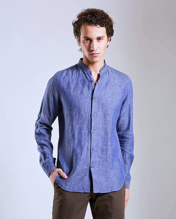 ROCA- STEP COLLAR SHIRT -BLUE