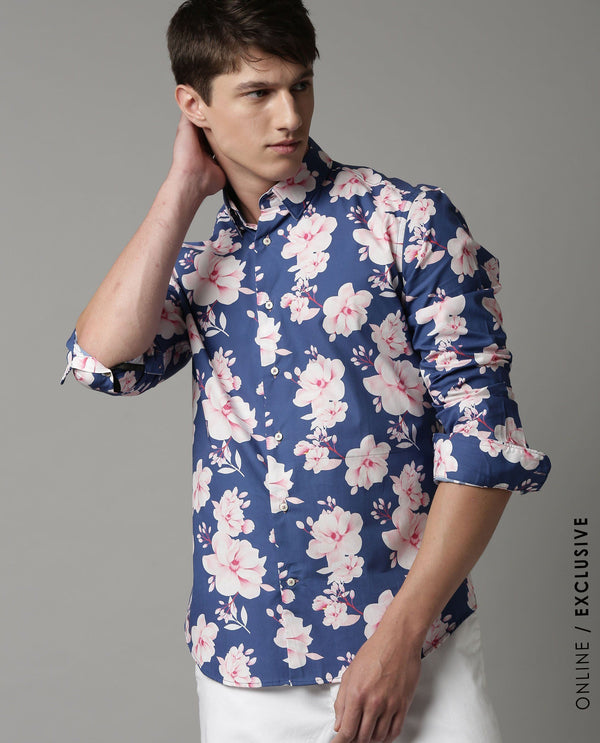 ROSEY-FANTASY PRINTED SHIRT-BLUE SHIRT RARE RABBIT