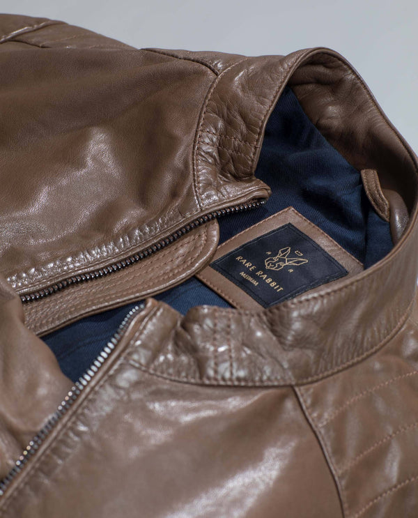 SMOUG-GENUINE Leather Jacket-BROWN LEATHER JACKET RARE RABBIT