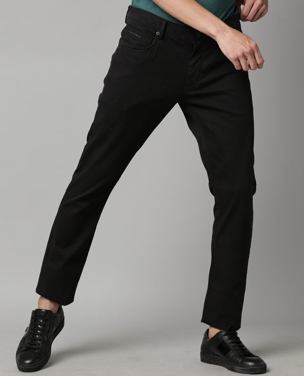 SPOCK-4-TEXTURED SOLID TROUSER-BLACK TROUSERS RARE RABBIT