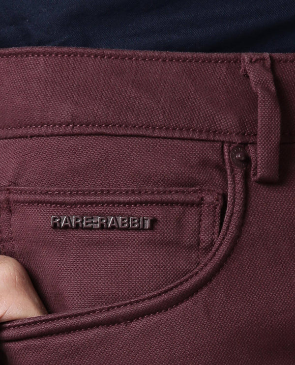 SPOCK-4-TEXTURED SOLID TROUSER-MAROON TROUSERS RARE RABBIT