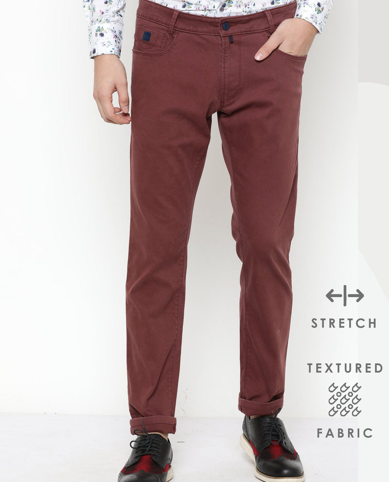 Spock-5 pocket DENIM/PANT-Maroon TROUSERS RARE RABBIT