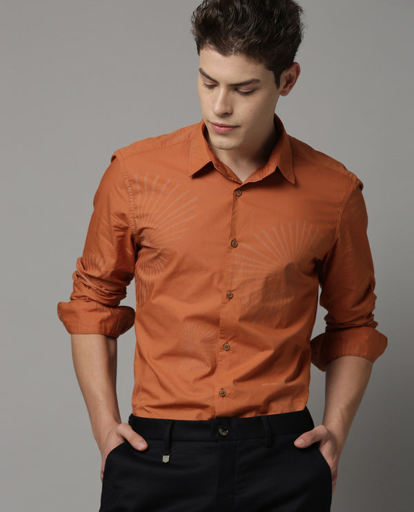 SUNRAY-PRINTED SHIRT-ORANGE SHIRT RARE RABBIT