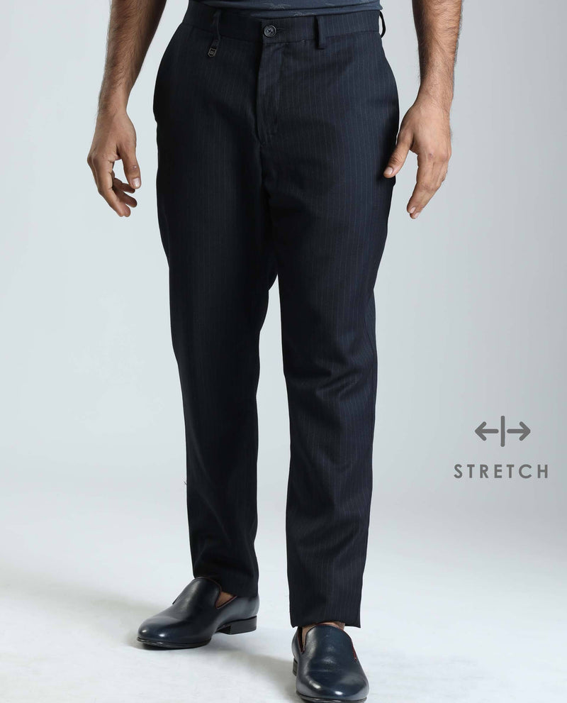 THOMAS-STRIPE TROUSER- NAVY TROUSERS RARE RABBIT