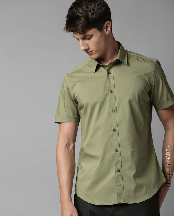 TULLE-SOLID STRETCH SHIRT-GREEN SHIRT RARE RABBIT