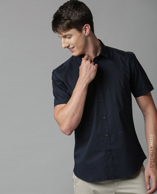 TULLE-SOLID STRETCH SHIRT-NAVY SHIRT RARE RABBIT