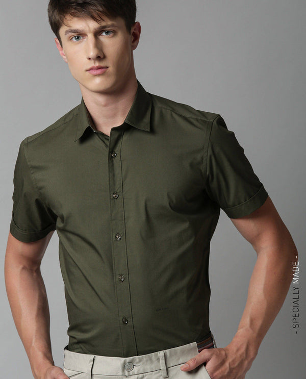 TULLE-SOLID STRETCH SHIRT-OLIVE SHIRT RARE RABBIT