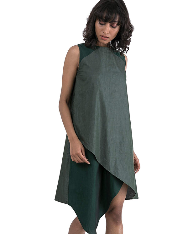 VIBE-SLEEVELESS ASYMMETRIC DRESS-GREEN DRESS RAREISM
