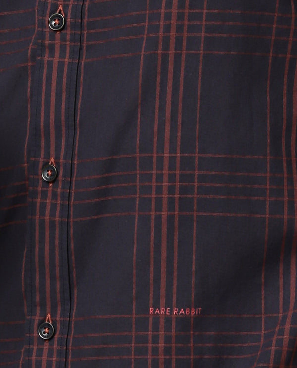 VOLA-CHECK SHIRT-NAVY SHIRT RARE RABBIT