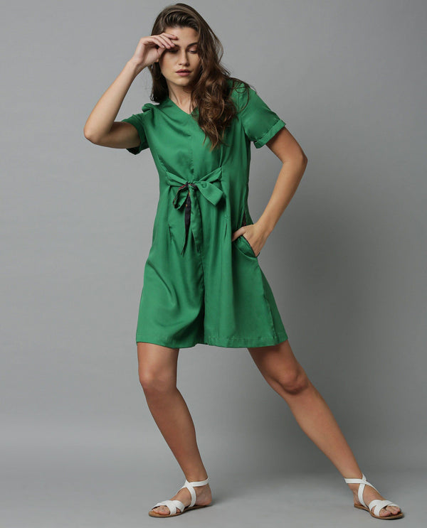 APT- SOLID PLAYSUIT WITH CONTRAST -GREEN JUMPSUIT RAREISM